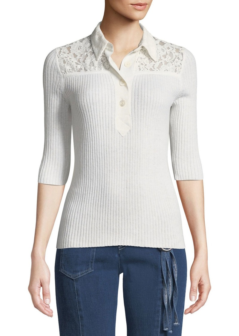 See by Chloé Collared Lace 3/4-Sleeve Button-Front Shirt
