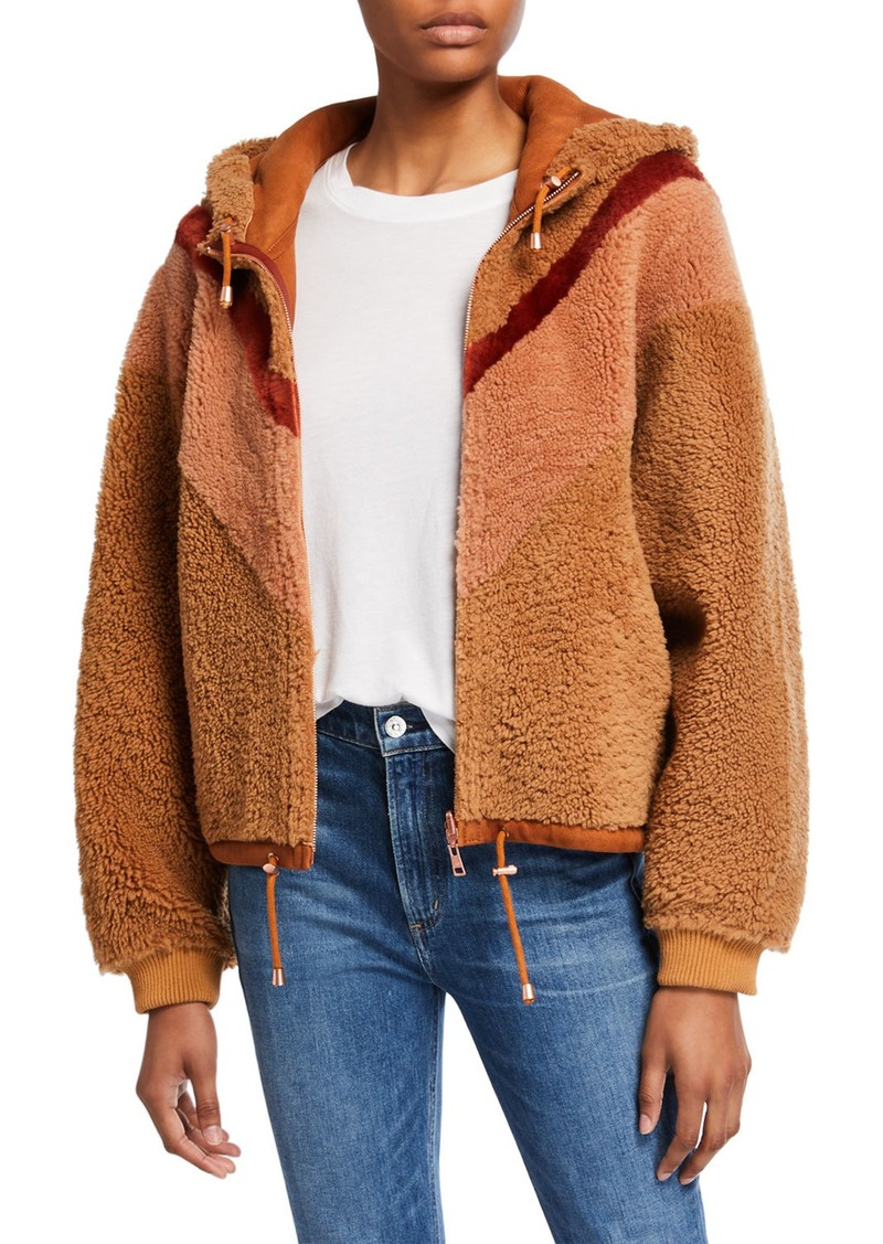See by Chloé Colorblocked Shearling Bomber Hoodie