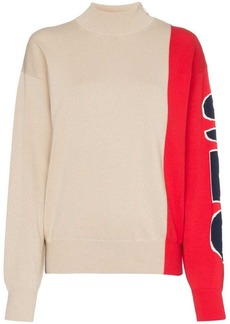 See by Chloé colour-block logo-sleeve side-zip jumper