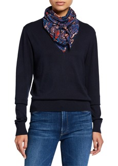 See by Chloé Combo Pullover Sweater with Silk Paisley Scarf