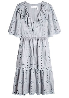 See by Chloé Cotton Dress with Broderie Anglaise