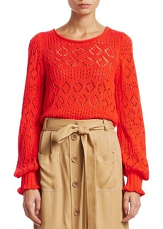 See by Chloé Cotton Lacey Eyelet Knit Sweater