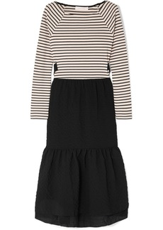See by Chloé Cotton-seersucker and striped jersey midi dress