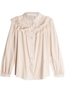 See by Chloé Cotton Voile Blouse with Lace