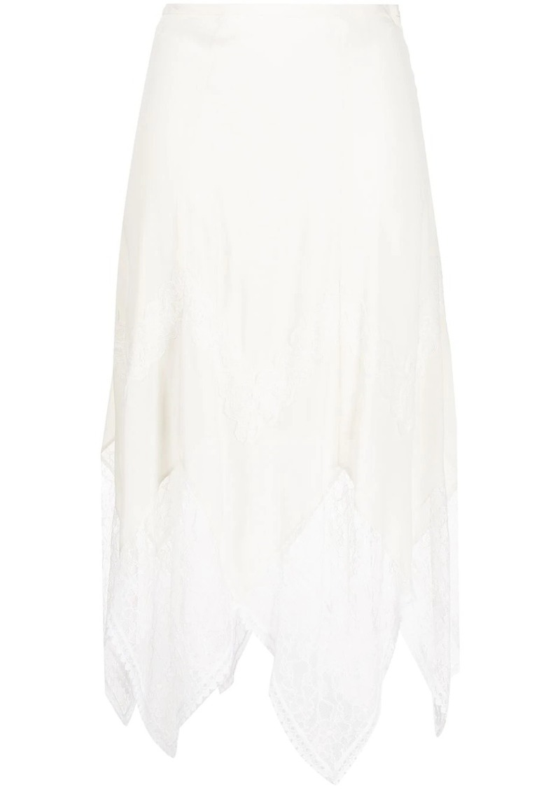 See by Chloé crepe and lace skirt