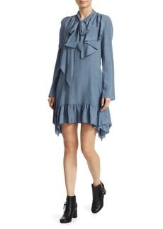See by Chloé Crepe Tie Neck Mini Dress