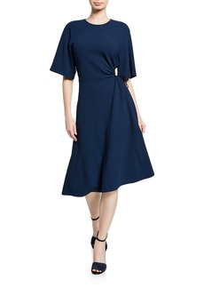 See by Chloé Crewneck Elbow-Sleeve Side-Cutout A-Line Dress