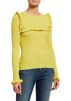 See by Chloé Crewneck Fitted Ribbed Alpaca-Blend Sweater w/ Ruffled Trim
