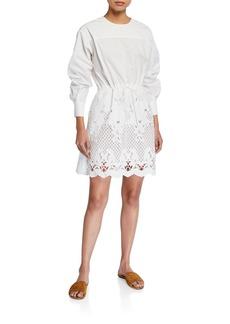 See by Chloé Crewneck Poplin Dress w/ Lace Inset