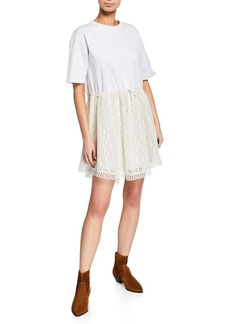 See by Chloé Crewneck Tie-Waist Lace Tee Dress