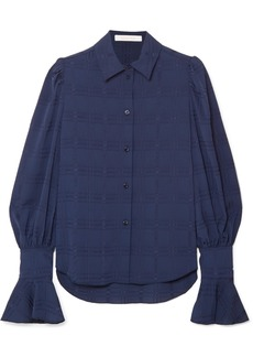 See by Chloé Crinkled Crepe-jacquard Blouse