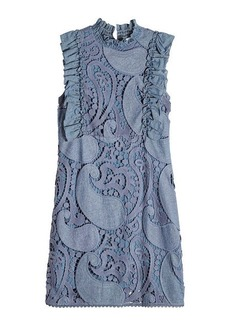 See by Chloé Crochet Embroidered Denim Dress