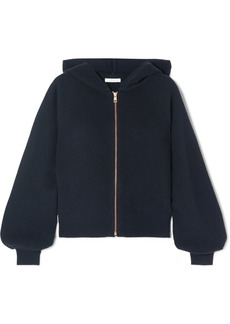 See by Chloé Crochet Knit-paneled Ribbed Wool And Cotton-blend Hoodie