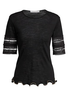 See by Chloé Crochet-Sleeve Wool-Blend Tee