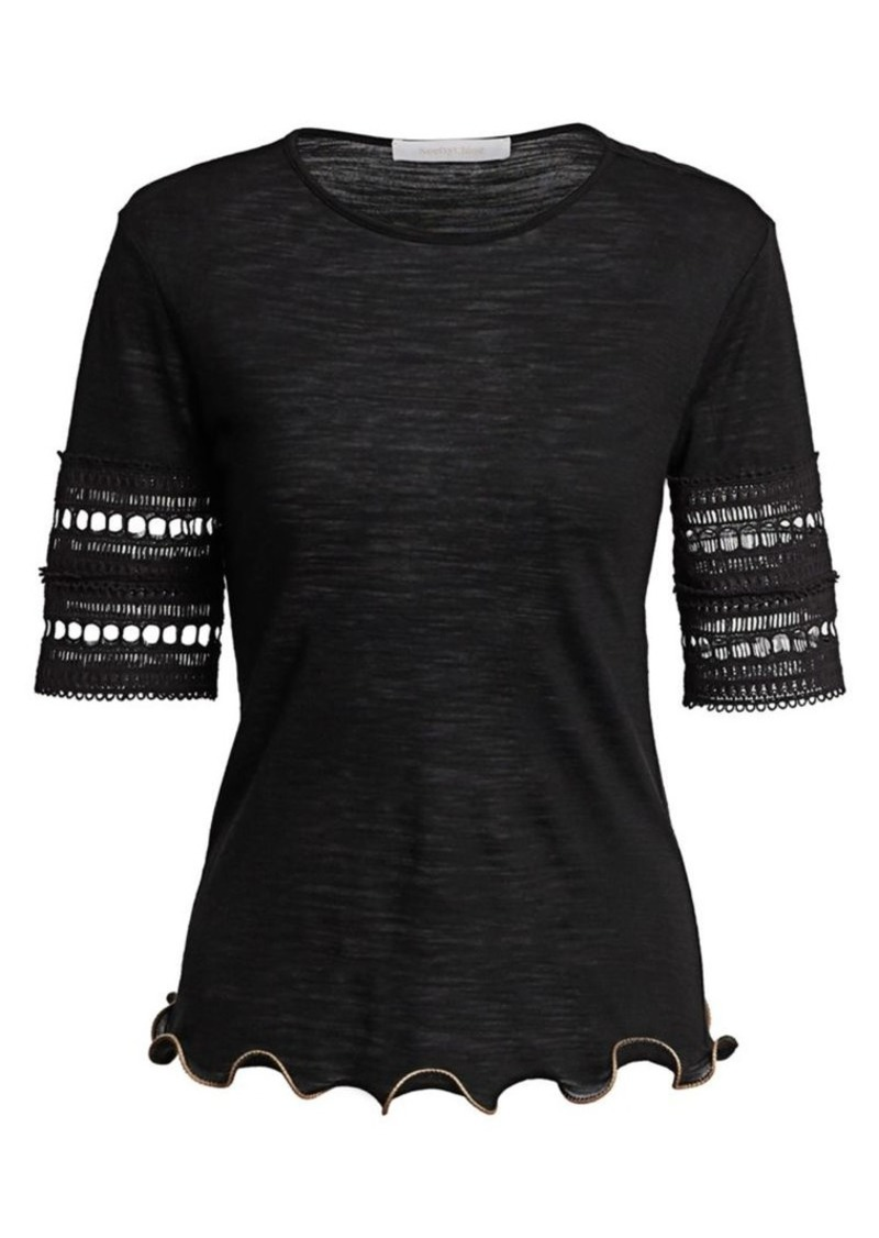 See by Chloé Crochet-Sleeve Wool-Blend Tee