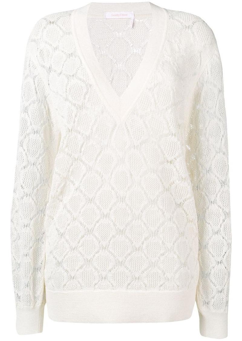 See by Chloé crochet V-neck sweater