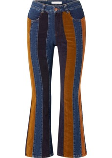 See by Chloé Cropped Corduroy-paneled High-rise Flared Jeans