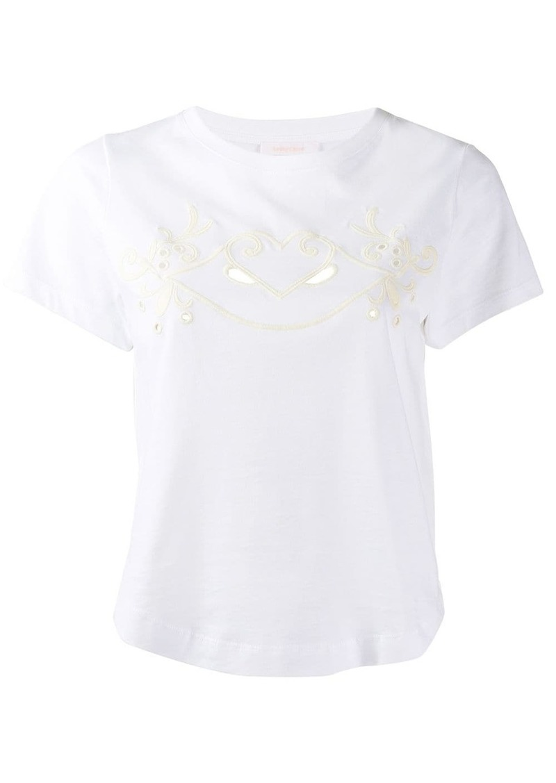 See by Chloé cropped embroidered T-shirt