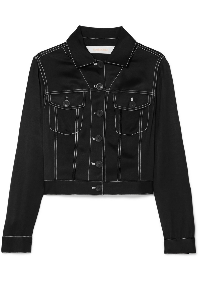 See by Chloé Cropped Satin-twill Jacket