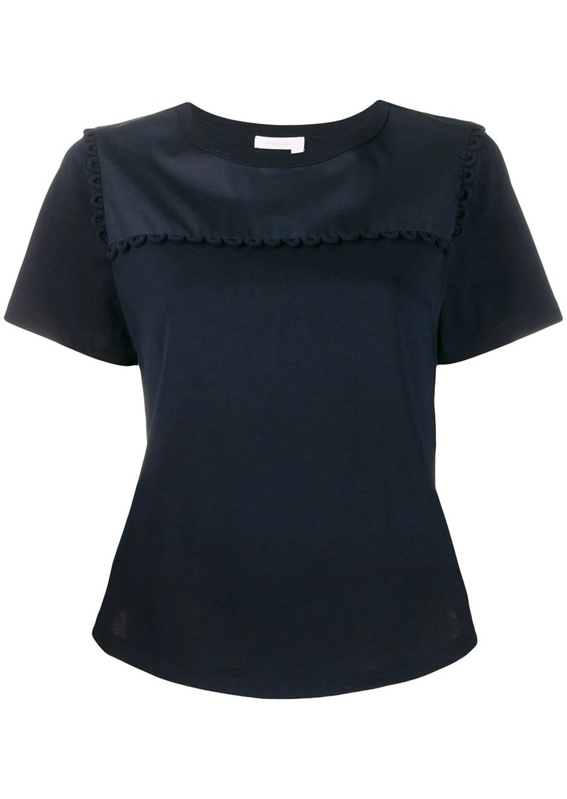 See by Chloé cropped scalloped trim T-shirt