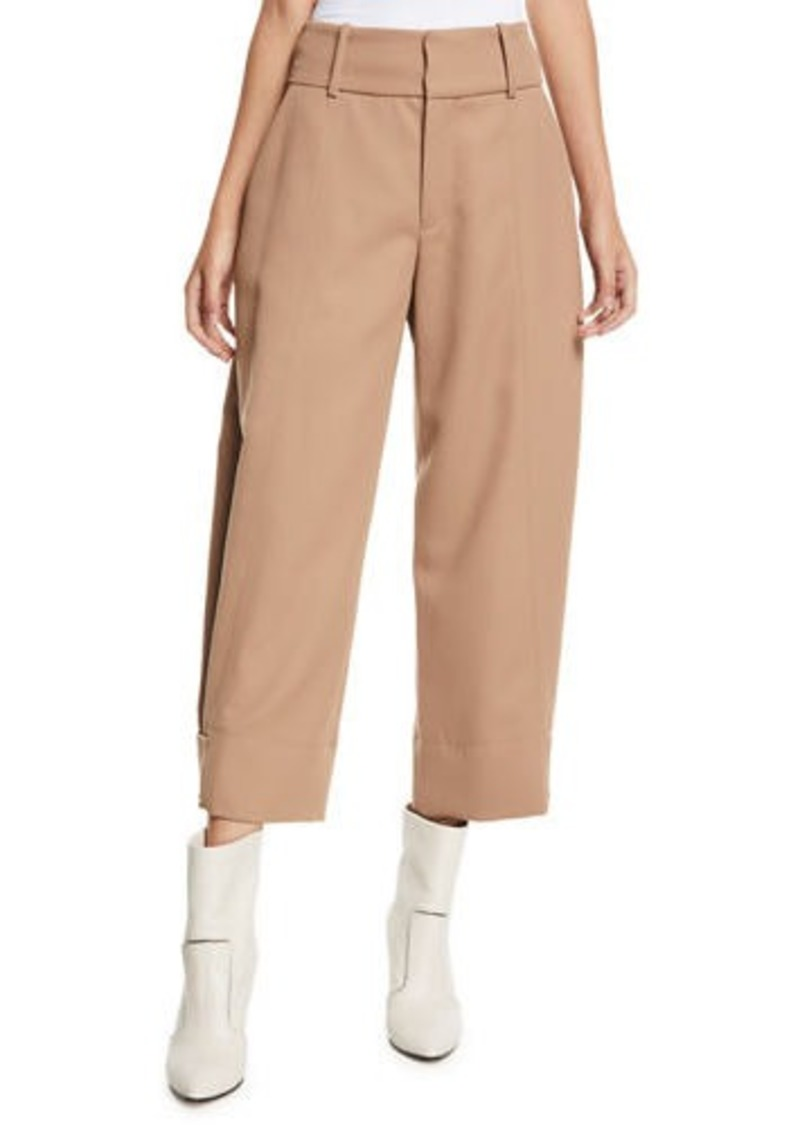 See by Chloé Cropped Wide-Leg Wool-Blend Trousers