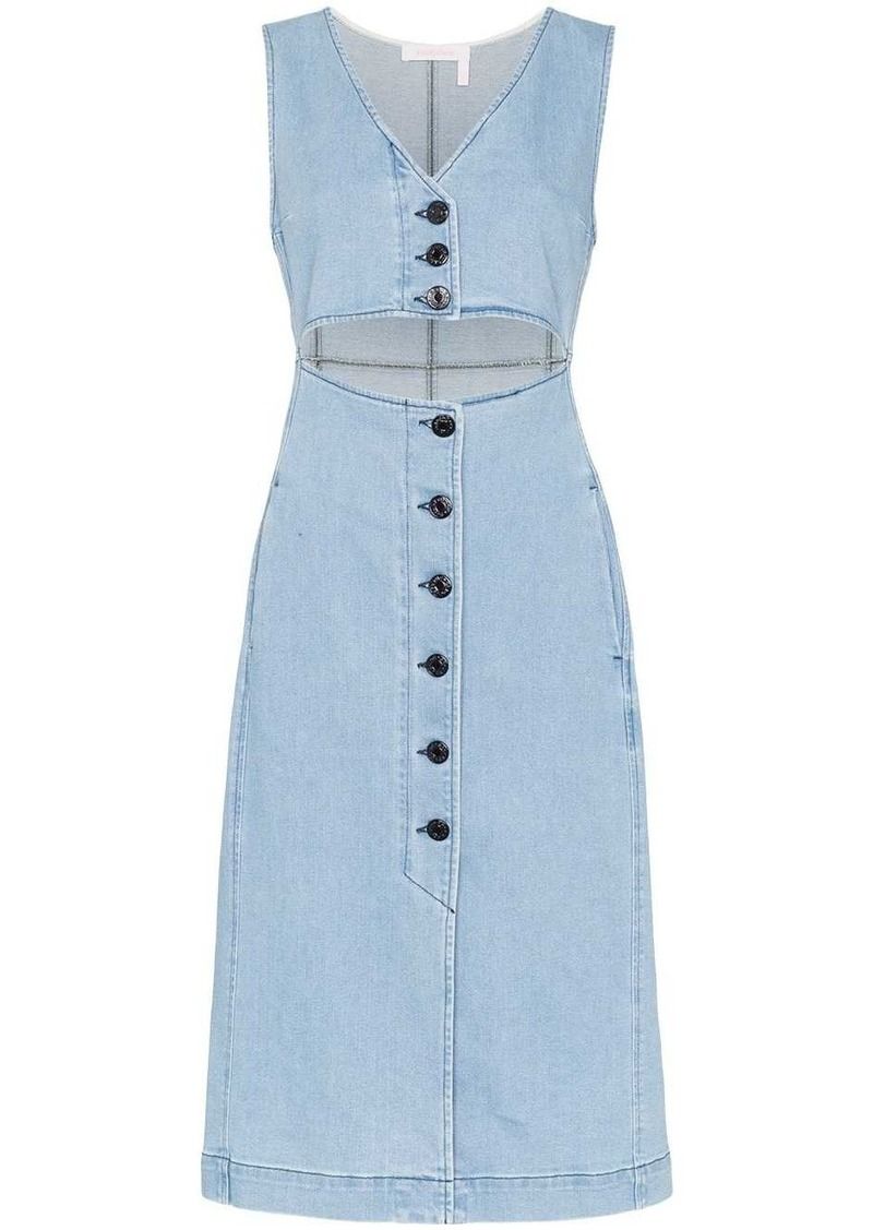 See by Chloé cut-out denim midi dress