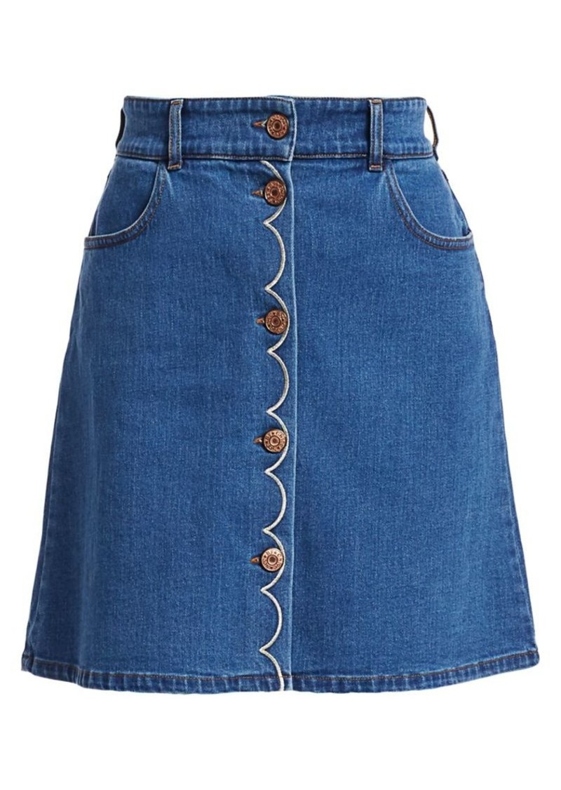 See by Chloé Denim Button-Front A-Line Skirt