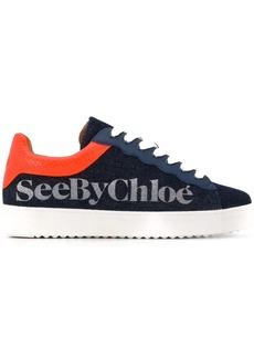 See by Chloé denim logo stamp sneakers
