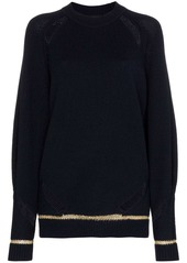 See by Chloé distressed lurex stripe wool blend jumper