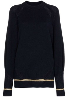 See by Chloé distressed lurex stripe wool blend jumper