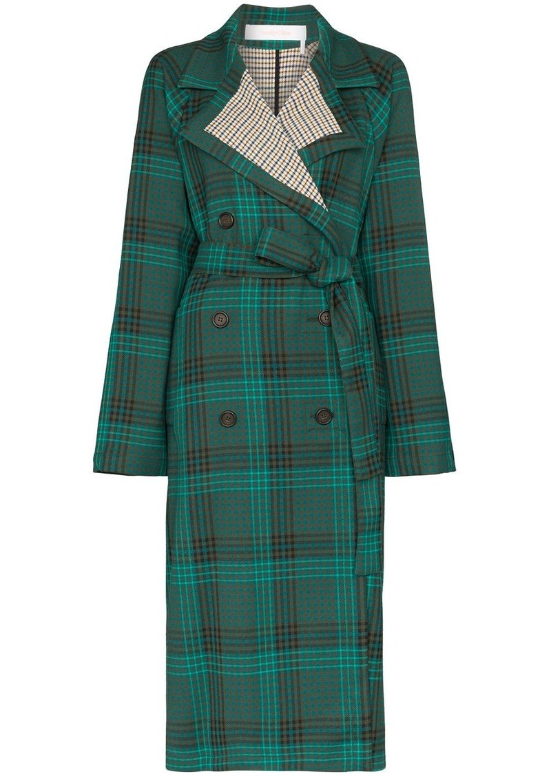 See by Chloé double-breasted check trench coat
