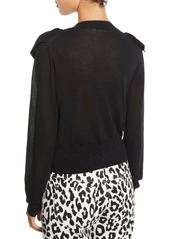 See by Chloé Double-Ruffle Long-Sleeve Knit Top