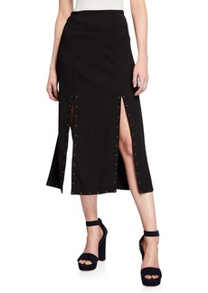 See by Chloé Double-Slit Studded Maxi Skirt