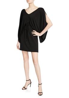 See by Chloé Draped-Sleeve Jersey Short Dress