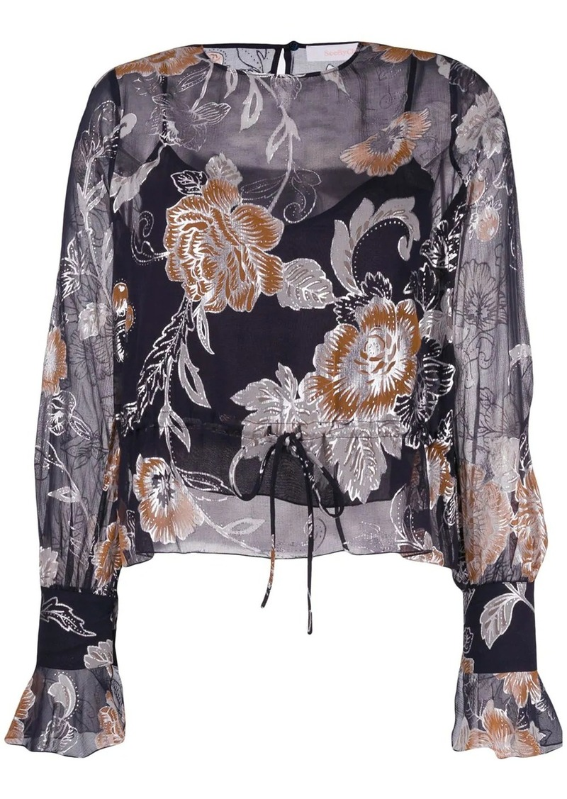 See by Chloé drawstring floral blouse