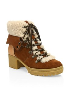 See by Chloé Eileen Lace-Up Shearling-Lined Ankle Boots