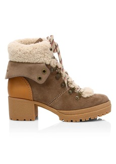 See by Chloé Eileen Lamb Fur-Lined Suede Hiking Boots