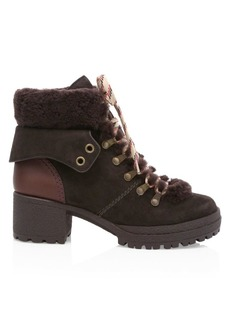 See by Chloé Eileen Shearling-Trimmed Leather Hiking Boots