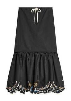 See by Chloé Embroidered Cotton Skirt