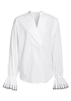 See by Chloé Embroidered-Cuff Poplin Top