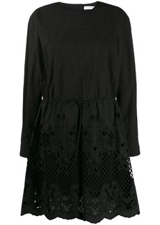 See by Chloé embroidered flared dress