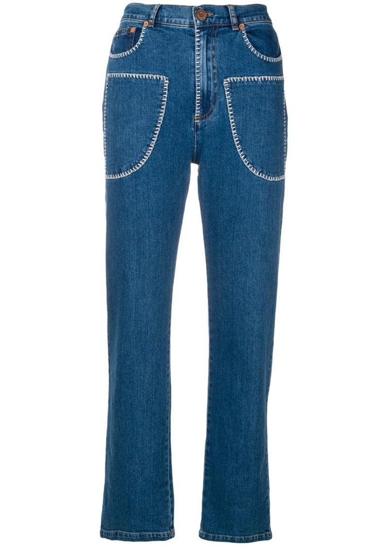 Chloé See Embroidered Jeans Pocket Front Denim By fwZ8xH