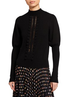 See by Chloé Embroidered Lace Mock-Neck Sweater