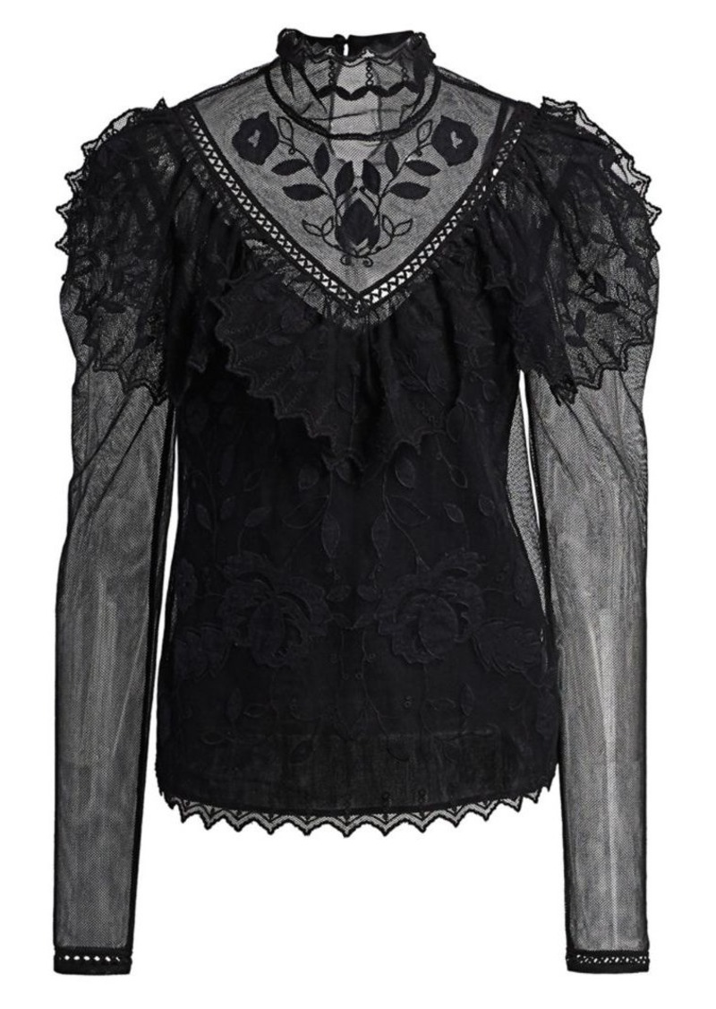 See by Chloé Embroidered Mesh Victorian Blouse