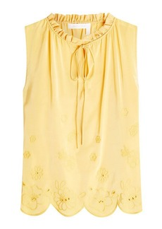 See by Chloé Embroidered Shell with Silk