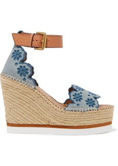 See by Chloé Embroidered Suede And Leather Espadrille Wedge Sandals