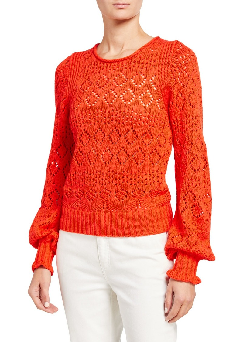 See by Chloé Eyelet Long-Sleeve Top