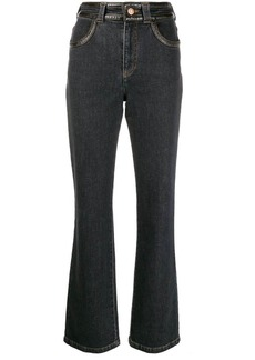 See by Chloé faux-leather trimmed boot-cut trousers