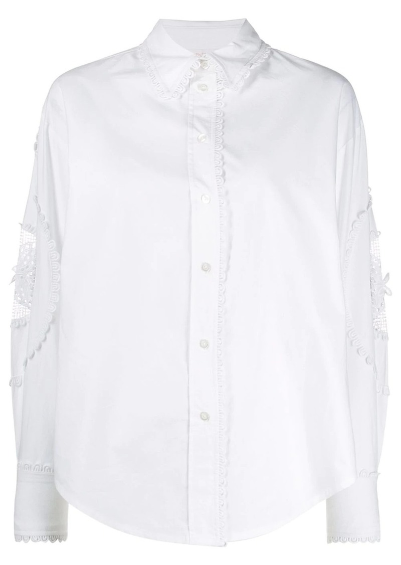 See by Chloé floral-embroidered shirt