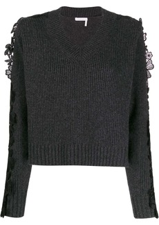 See by Chloé floral lace panel sweater